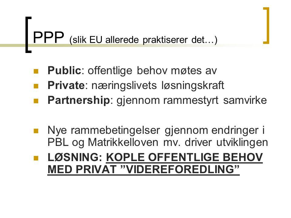 PPP (slik EU allerede praktiserer det…)  Public: offentlige behov møtes av  Private: næringslivets løsningskraft  Partnership: gjennom rammestyrt samvirke  Nye rammebetingelser gjennom endringer i PBL og Matrikkelloven mv.