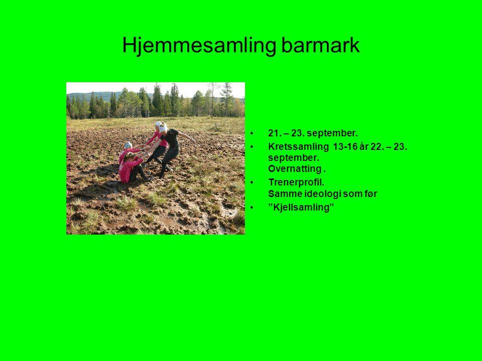 Hjemmesamling barmark •21.– 23. september. •Kretssamling 13-16 år 22.