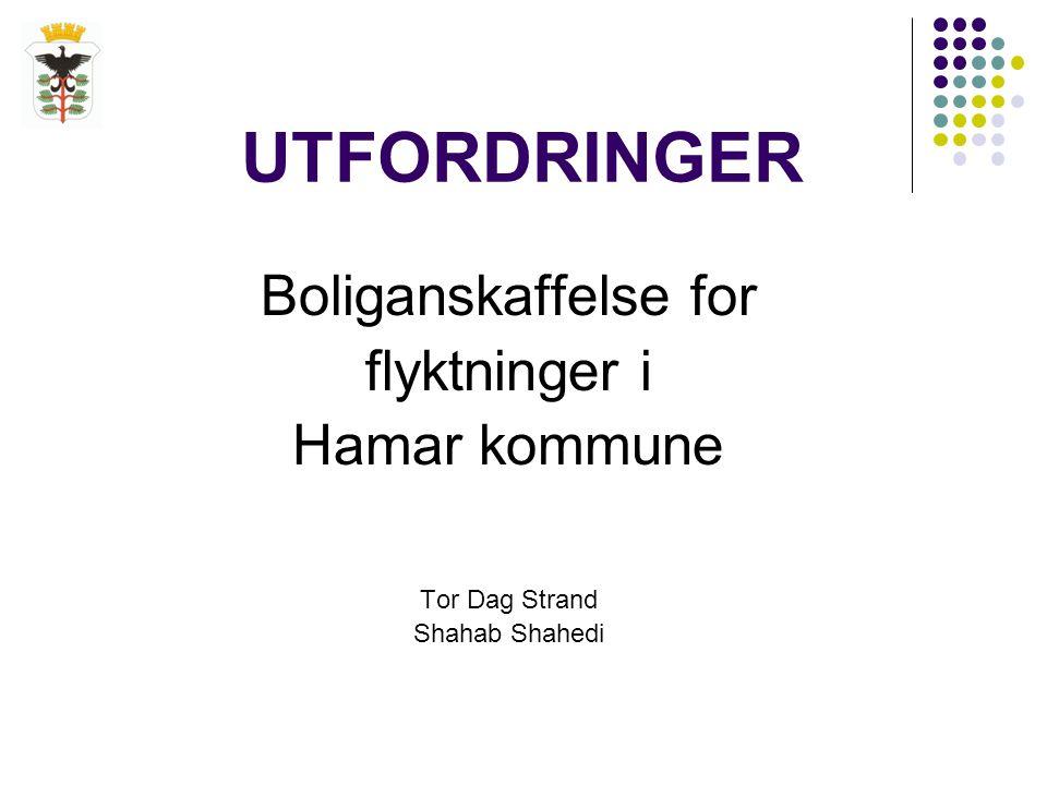 UTFORDRINGER Boliganskaffelse for flyktninger i Hamar kommune Tor Dag Strand Shahab Shahedi