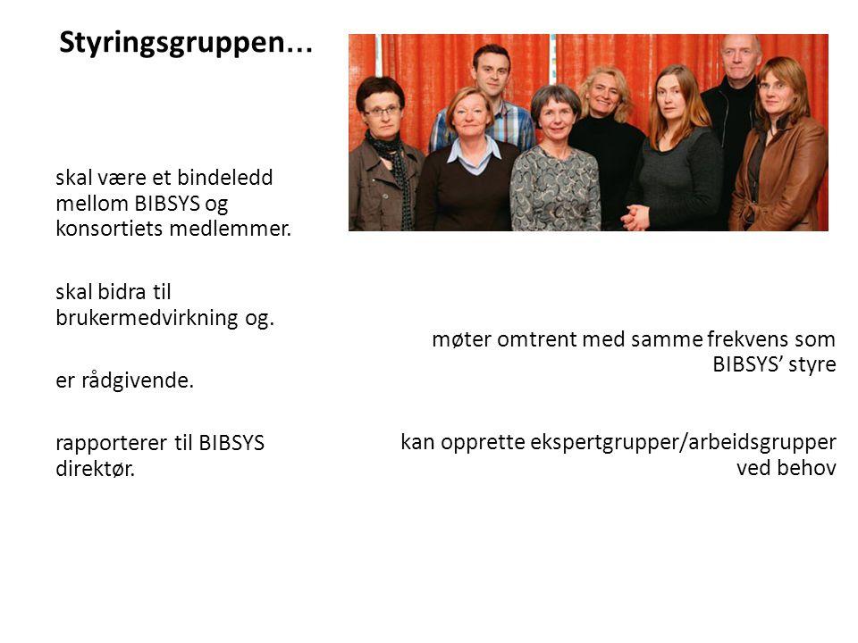 Styringsgruppen … skal være et bindeledd mellom BIBSYS og konsortiets medlemmer.