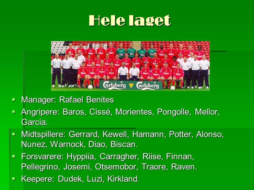 Hele laget  Manager: Rafael Benites  Angripere: Baros, Cissé, Morientes, Pongolle, Mellor, Garcia.