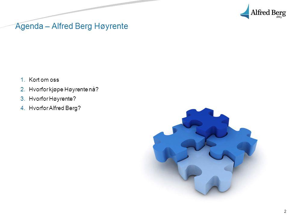 2 Agenda – Alfred Berg Høyrente 1.Kort om oss 2.Hvorfor kjøpe Høyrente nå? 3.Hvorfor Høyrente? 4.Hvorfor Alfred Berg?