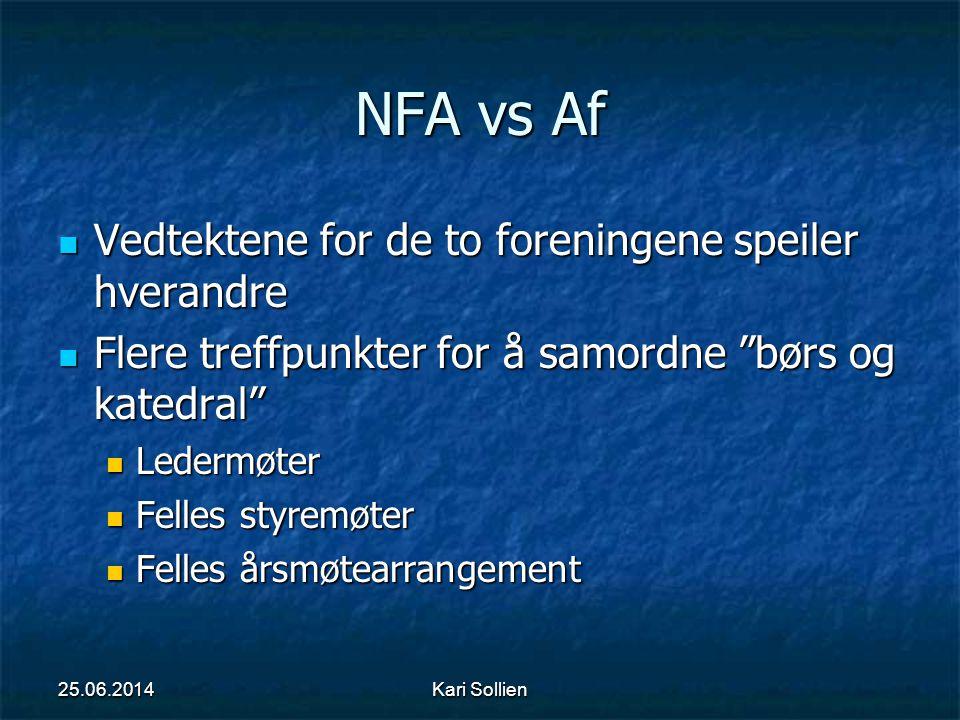 """Kari Sollien NFA vs Af  Vedtektene for de to foreningene speiler hverandre  Flere treffpunkter for å samordne """"børs og katedral""""  Ledermøter  Fell"""