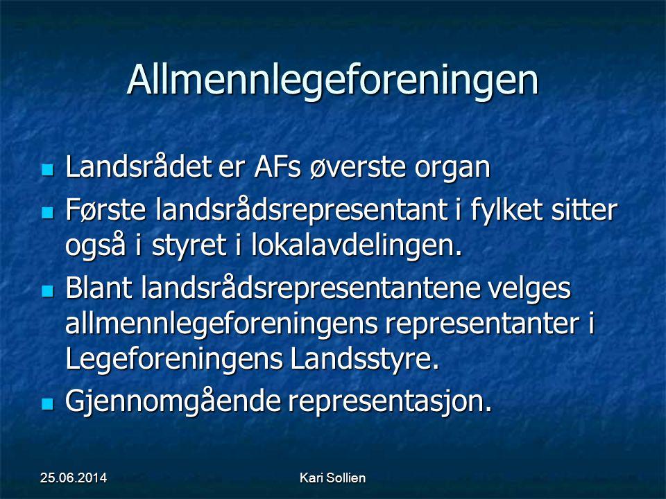 Kari Sollien Allmennlegeforeningen  Landsrådet er AFs øverste organ  Første landsrådsrepresentant i fylket sitter også i styret i lokalavdelingen. 
