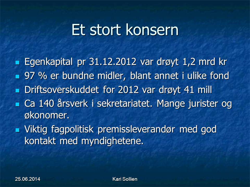 Kari Sollien Et stort konsern  Egenkapital pr 31.12.2012 var drøyt 1,2 mrd kr  97 % er bundne midler, blant annet i ulike fond  Driftsoverskuddet f