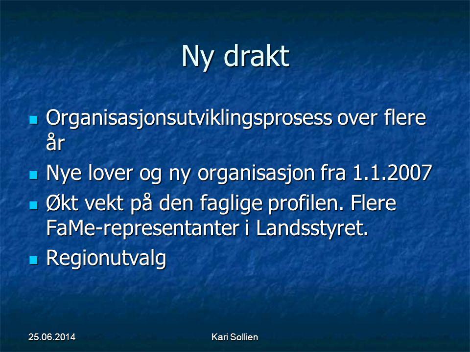 Kari Sollien Ny drakt  Organisasjonsutviklingsprosess over flere år  Nye lover og ny organisasjon fra 1.1.2007  Økt vekt på den faglige profilen. F