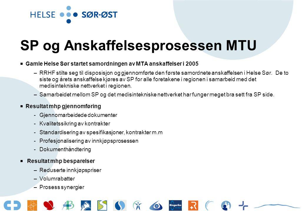 SP og Anskaffelsesprosessen MTU  Gamle Helse Sør startet samordningen av MTA anskaffelser i 2005 –RRHF stilte seg til disposisjon og gjennomførte den første samordnete anskaffelsen i Helse Sør.