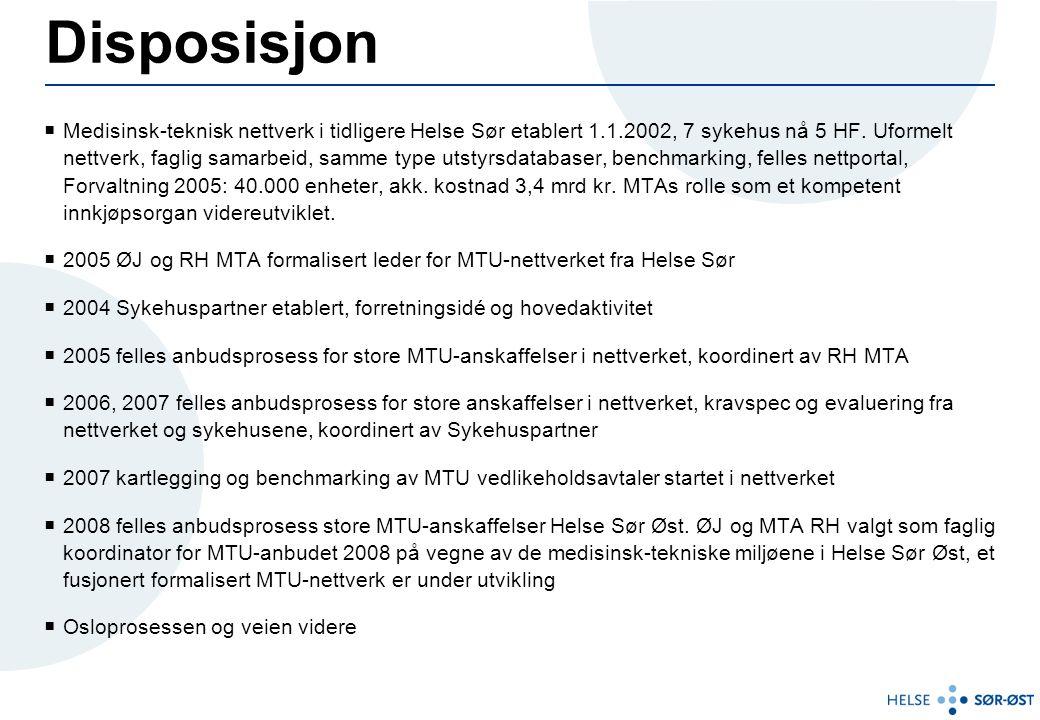 Disposisjon  Medisinsk-teknisk nettverk i tidligere Helse Sør etablert 1.1.2002, 7 sykehus nå 5 HF. Uformelt nettverk, faglig samarbeid, samme type u