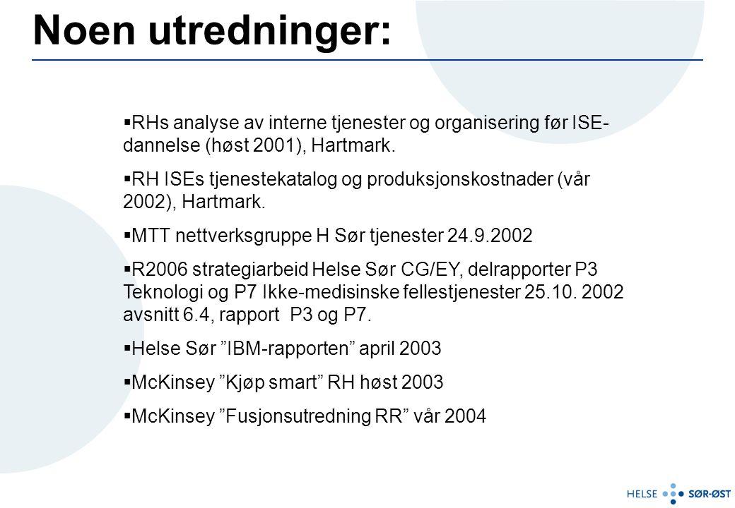  RHs analyse av interne tjenester og organisering før ISE- dannelse (høst 2001), Hartmark.  RH ISEs tjenestekatalog og produksjonskostnader (vår 200