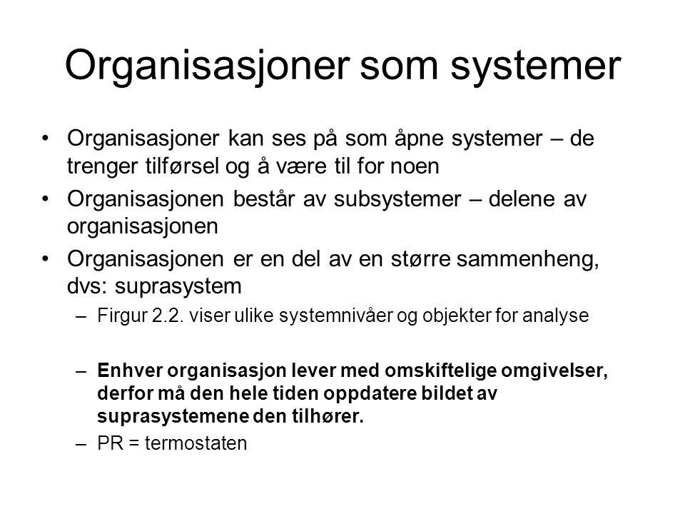 Organisasjoner som systemer •Organisasjoner kan ses på som åpne systemer – de trenger tilførsel og å være til for noen •Organisasjonen består av subsystemer – delene av organisasjonen •Organisasjonen er en del av en større sammenheng, dvs: suprasystem –Firgur 2.2.