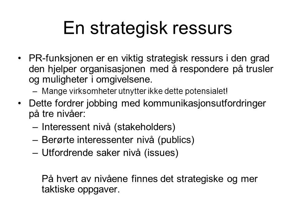 En strategisk ressurs •PR-funksjonen er en viktig strategisk ressurs i den grad den hjelper organisasjonen med å respondere på trusler og muligheter i