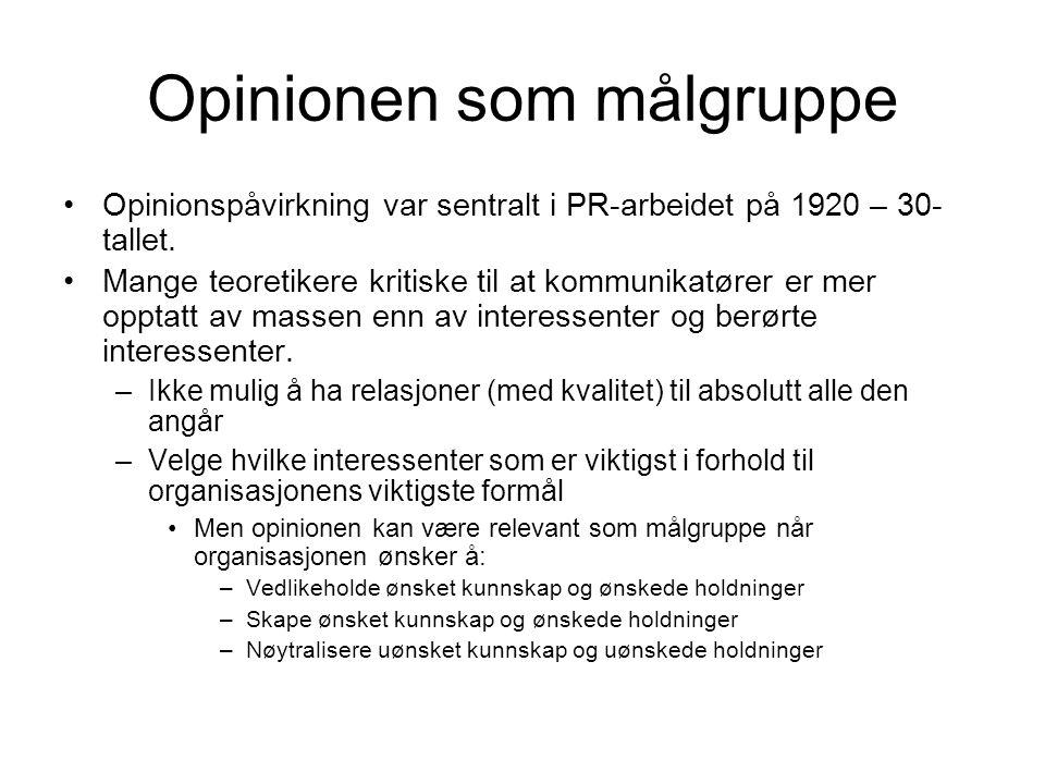 Opinionen som målgruppe •Opinionspåvirkning var sentralt i PR-arbeidet på 1920 – 30- tallet. •Mange teoretikere kritiske til at kommunikatører er mer