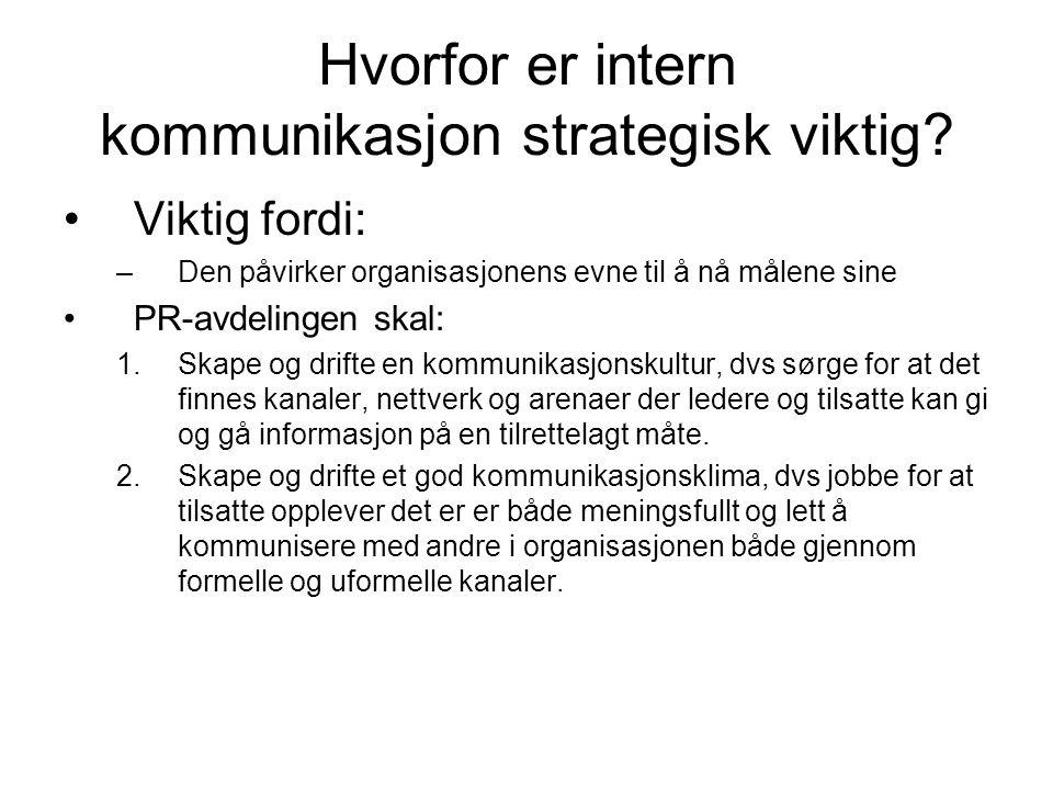 Hvorfor er intern kommunikasjon strategisk viktig? •Viktig fordi: –Den påvirker organisasjonens evne til å nå målene sine •PR-avdelingen skal: 1.Skape