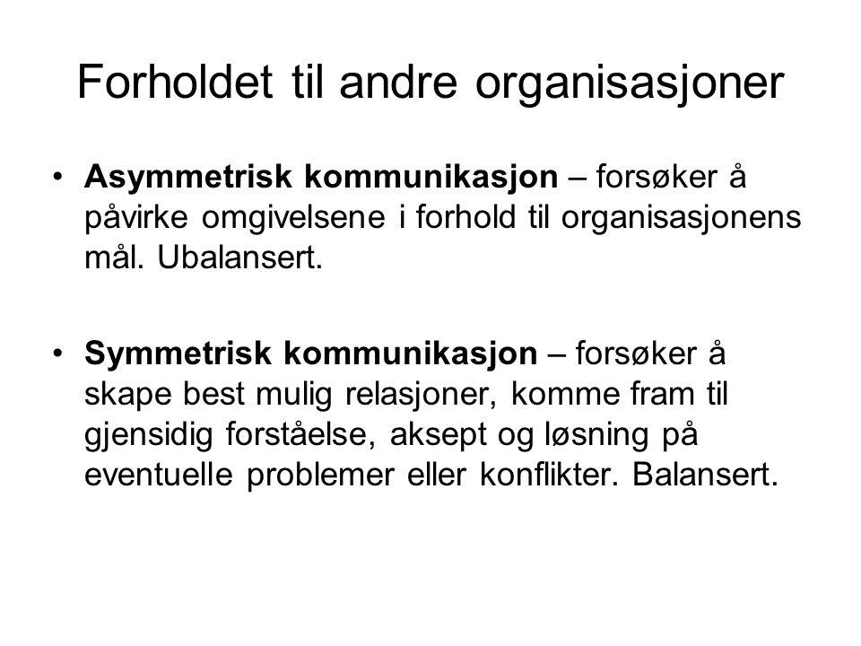 Forholdet til andre organisasjoner •Asymmetrisk kommunikasjon – forsøker å påvirke omgivelsene i forhold til organisasjonens mål. Ubalansert. •Symmetr