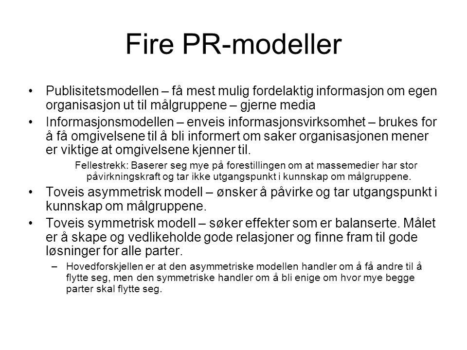 Fire PR-modeller •Publisitetsmodellen – få mest mulig fordelaktig informasjon om egen organisasjon ut til målgruppene – gjerne media •Informasjonsmodellen – enveis informasjonsvirksomhet – brukes for å få omgivelsene til å bli informert om saker organisasjonen mener er viktige at omgivelsene kjenner til.
