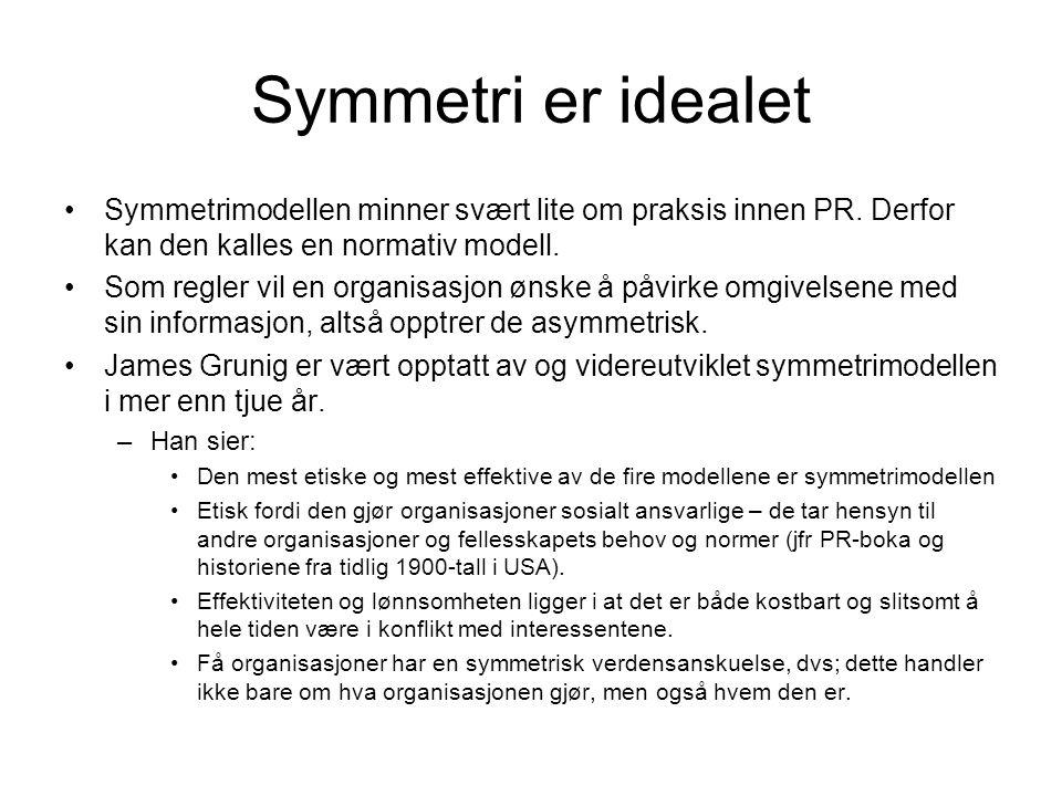 Symmetri er idealet •Symmetrimodellen minner svært lite om praksis innen PR. Derfor kan den kalles en normativ modell. •Som regler vil en organisasjon