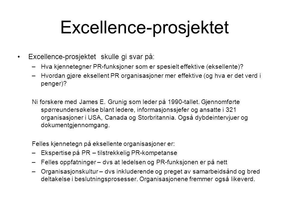 Excellence-prosjektet •Excellence-prosjektet skulle gi svar på: –Hva kjennetegner PR-funksjoner som er spesielt effektive (eksellente)? –Hvordan gjøre
