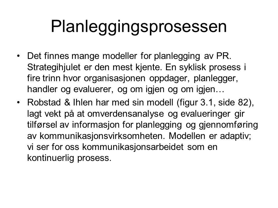 Planleggingsprosessen •Det finnes mange modeller for planlegging av PR. Strategihjulet er den mest kjente. En syklisk prosess i fire trinn hvor organi