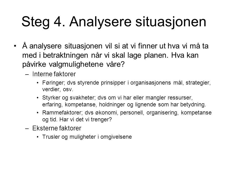 Steg 4. Analysere situasjonen •Å analysere situasjonen vil si at vi finner ut hva vi må ta med i betraktningen når vi skal lage planen. Hva kan påvirk