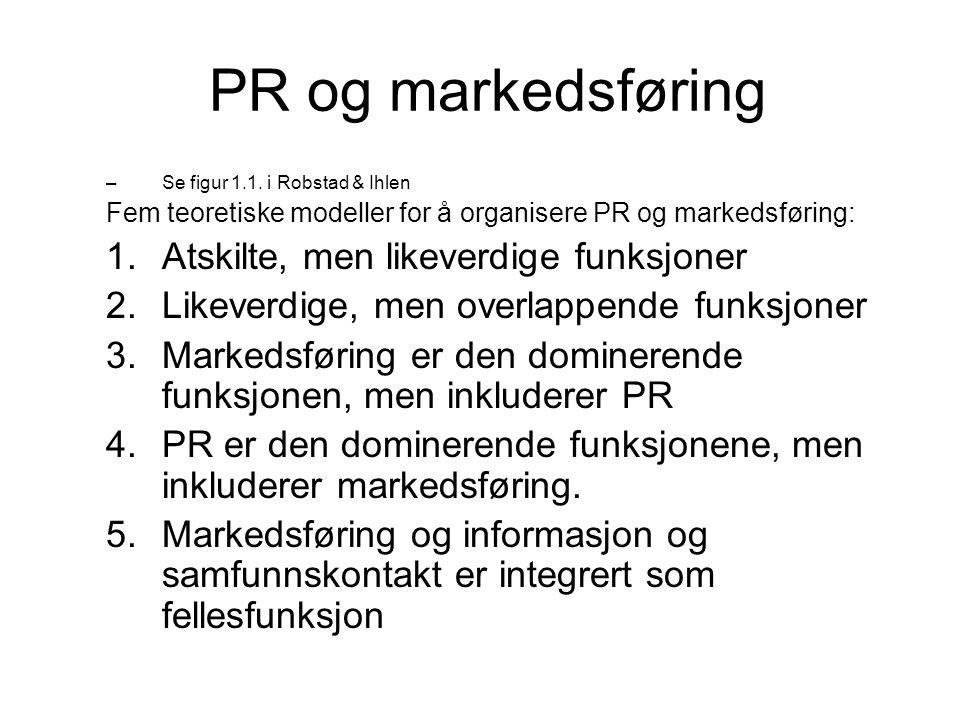 PR og markedsføring –Se figur 1.1. i Robstad & Ihlen Fem teoretiske modeller for å organisere PR og markedsføring: 1.Atskilte, men likeverdige funksjo