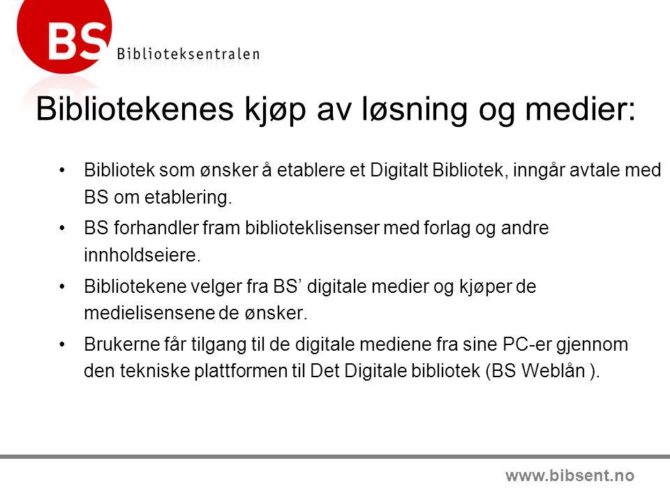 www.bibsent.no Bibliotekenes kjøp av løsning og medier: •Bibliotek som ønsker å etablere et Digitalt Bibliotek, inngår avtale med BS om etablering.
