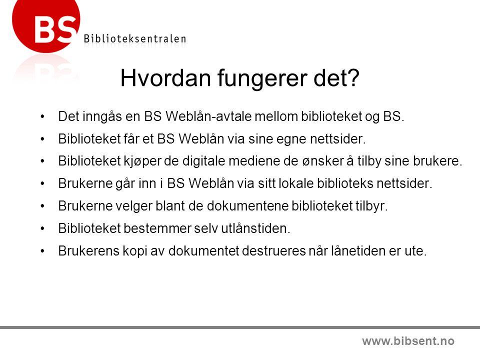 www.bibsent.no Hvordan fungerer det. •Det inngås en BS Weblån-avtale mellom biblioteket og BS.