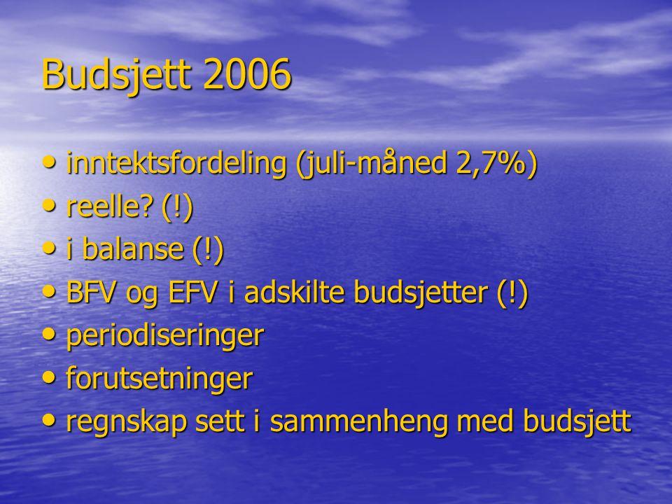 Budsjett 2006 • inntektsfordeling (juli-måned 2,7%) • reelle? (!) • i balanse (!) • BFV og EFV i adskilte budsjetter (!) • periodiseringer • forutsetn