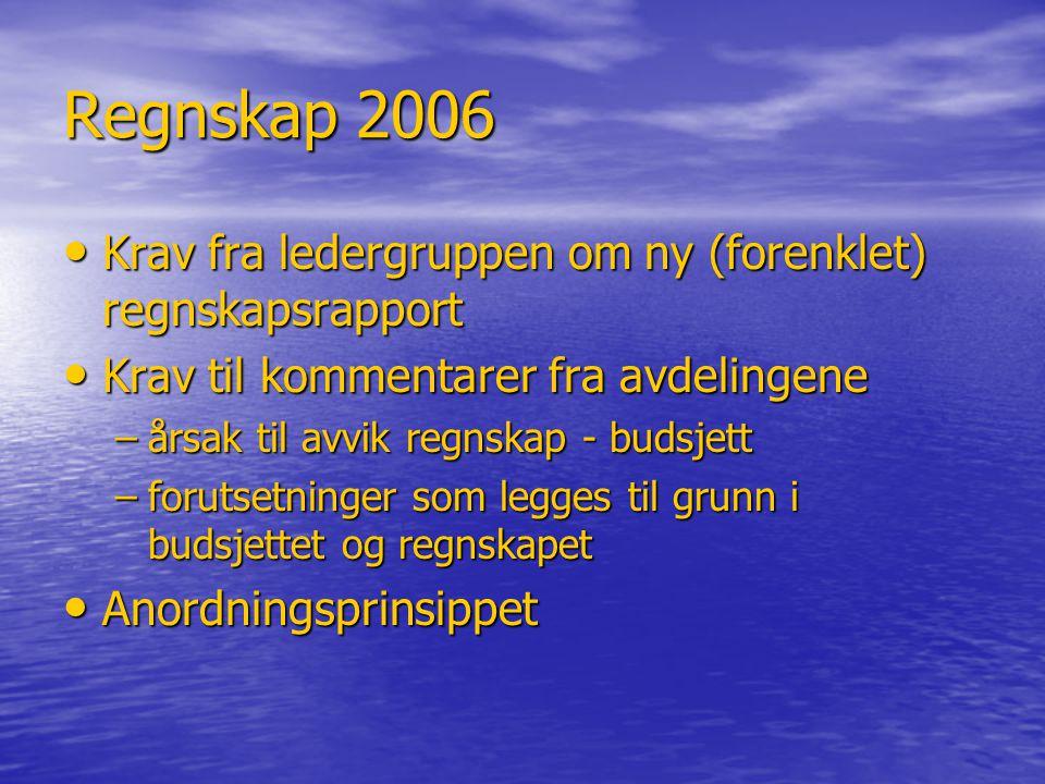 Regnskap 2006 • Krav fra ledergruppen om ny (forenklet) regnskapsrapport • Krav til kommentarer fra avdelingene –årsak til avvik regnskap - budsjett –