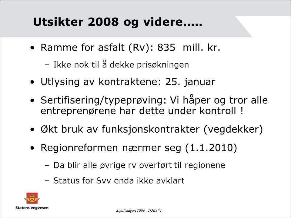 Asfaltdagen 2008 - TORSVT Utsikter 2008 og videre..... •Ramme for asfalt (Rv): 835 mill. kr. –Ikke nok til å dekke prisøkningen •Utlysing av kontrakte