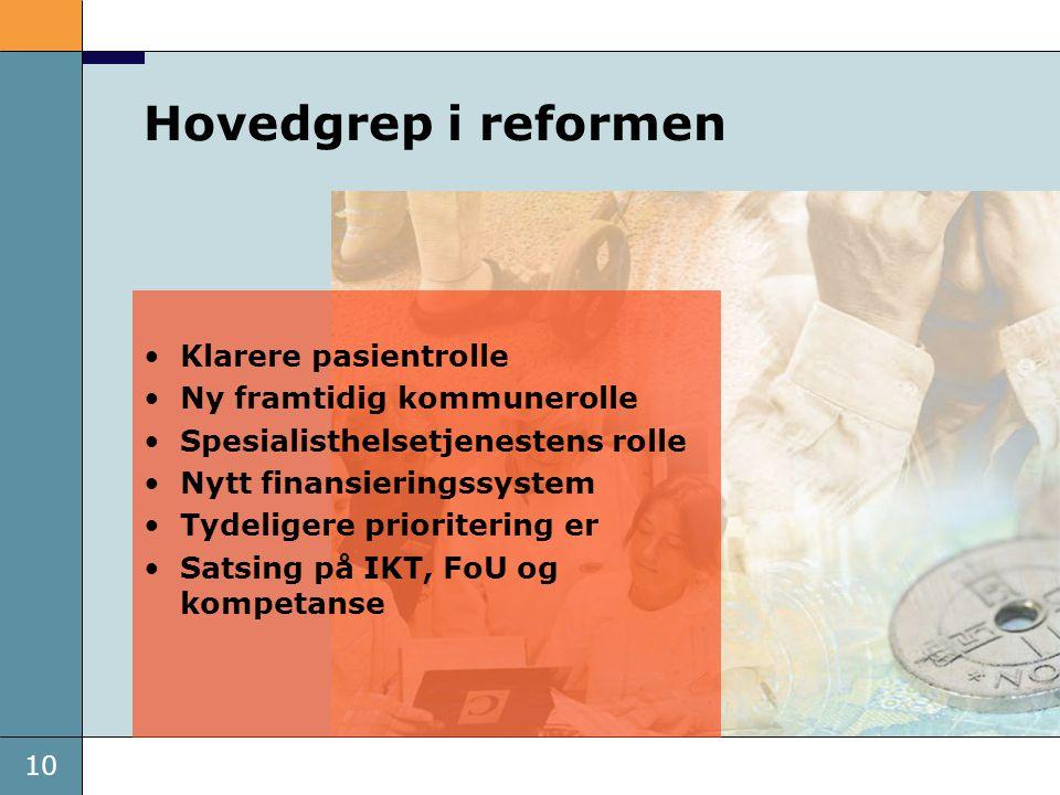 10 •Klarere pasientrolle •Ny framtidig kommunerolle •Spesialisthelsetjenestens rolle •Nytt finansieringssystem •Tydeligere prioritering er •Satsing på