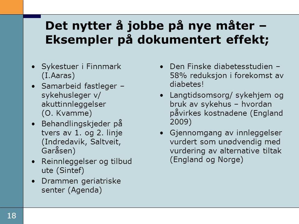 18 Det nytter å jobbe på nye måter – Eksempler på dokumentert effekt; •Sykestuer i Finnmark (I.Aaras) •Samarbeid fastleger – sykehusleger v/ akuttinnl