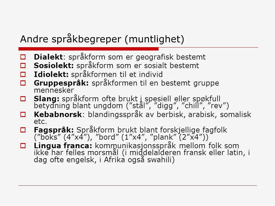 Andre språkbegreper (muntlighet)  Dialekt: språkform som er geografisk bestemt  Sosiolekt: språkform som er sosialt bestemt  Idiolekt: språkformen