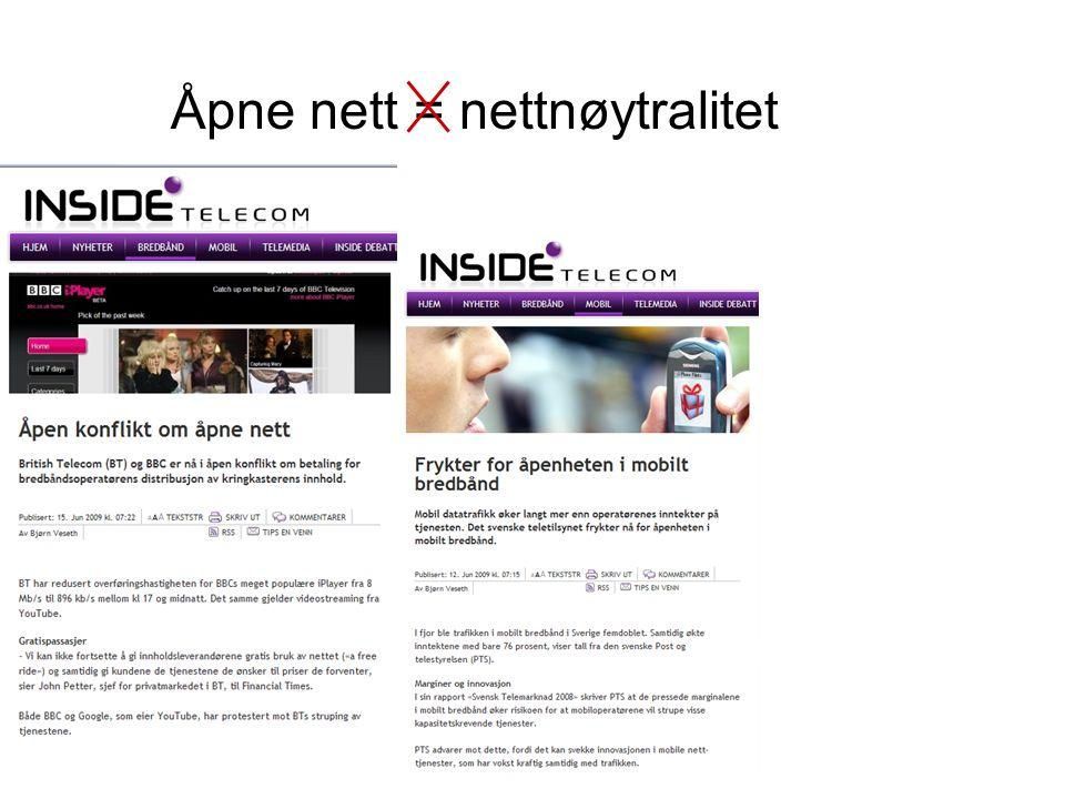 Åpne nett = nettnøytralitet