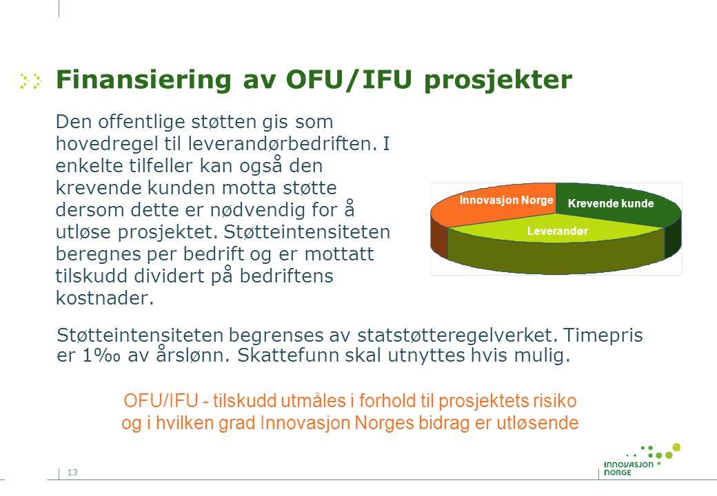 13 Finansiering av OFU/IFU prosjekter Den offentlige støtten gis som hovedregel til leverandørbedriften. I enkelte tilfeller kan også den krevende kun