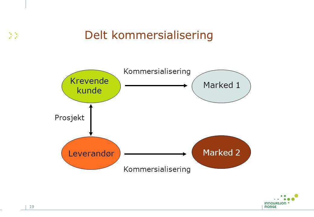 19 Delt kommersialisering Leverandør Kommersialisering Krevende kunde Marked 1 Prosjekt Marked 2 Kommersialisering
