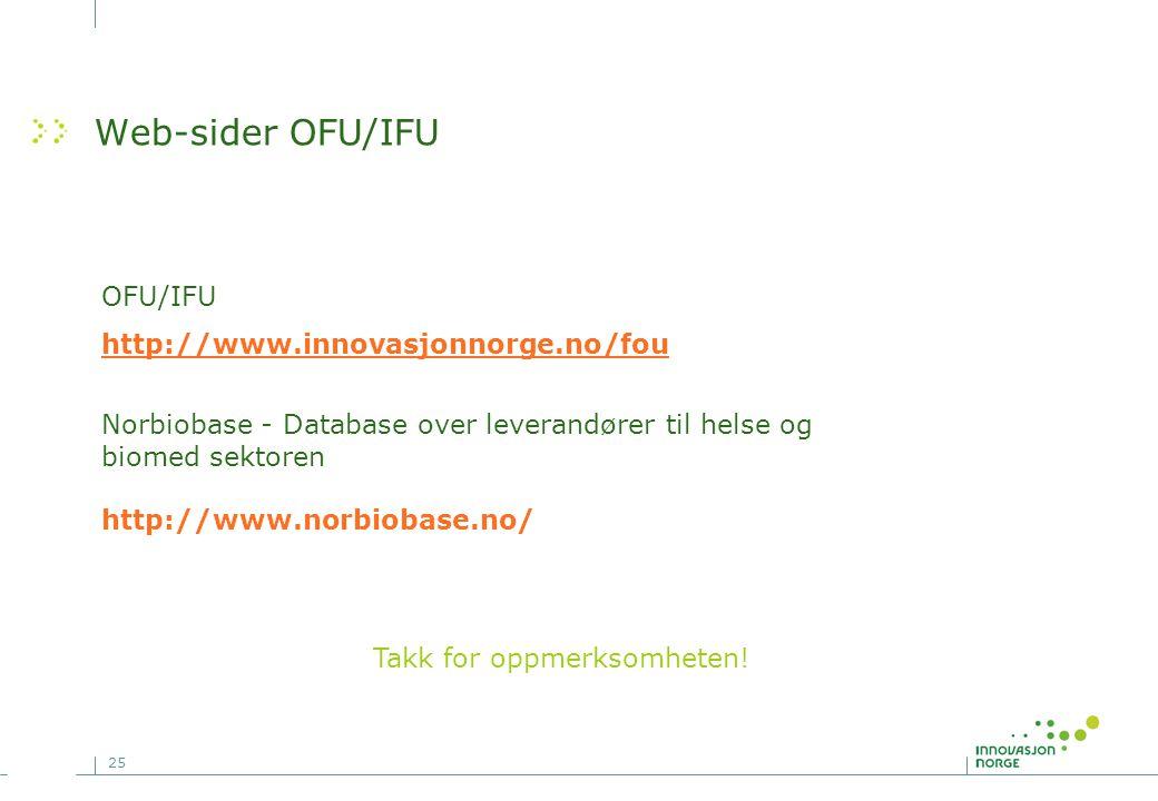 25 Web-sider OFU/IFU OFU/IFU http://www.innovasjonnorge.no/fou Norbiobase - Database over leverandører til helse og biomed sektoren http://www.norbiob