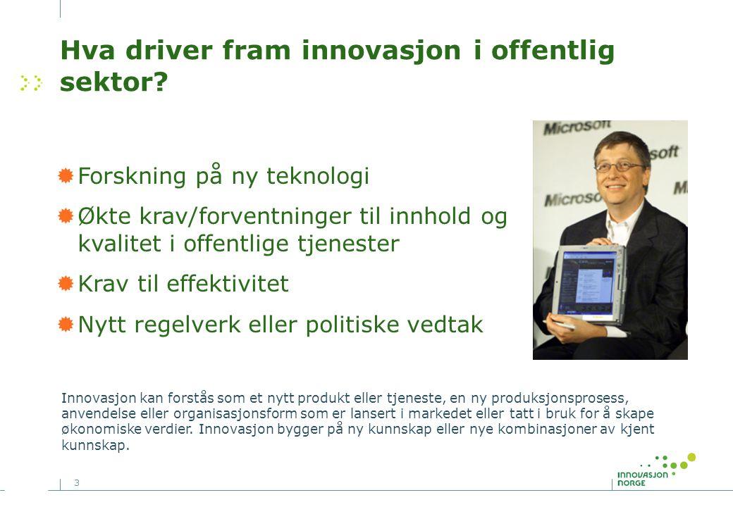 3 Hva driver fram innovasjon i offentlig sektor?  Forskning på ny teknologi  Økte krav/forventninger til innhold og kvalitet i offentlige tjenester