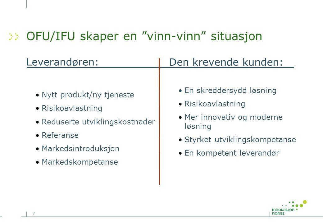 """7 OFU/IFU skaper en """"vinn-vinn"""" situasjon Leverandøren: •Nytt produkt/ny tjeneste •Risikoavlastning •Reduserte utviklingskostnader •Referanse •Markeds"""