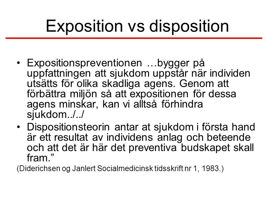 Exposition vs disposition •Expositionspreventionen …bygger på uppfattningen att sjukdom uppstår när individen utsätts för olika skadliga agens.