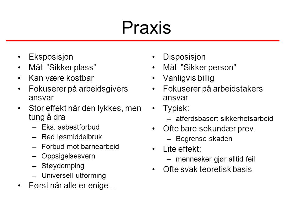 Praxis •Eksposisjon •Mål: Sikker plass •Kan være kostbar •Fokuserer på arbeidsgivers ansvar •Stor effekt når den lykkes, men tung å dra –Eks.