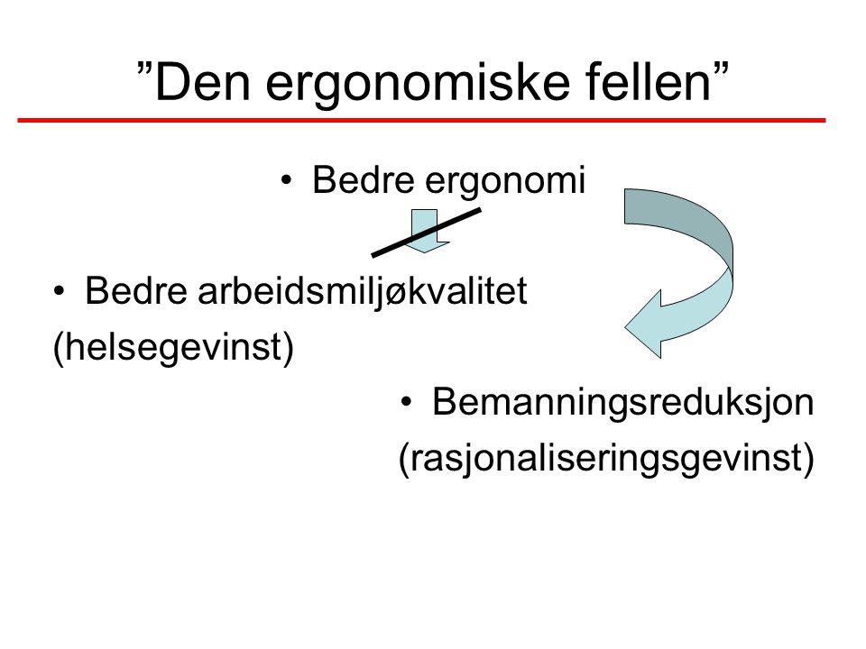 Den ergonomiske fellen •Bedre ergonomi •Bedre arbeidsmiljøkvalitet (helsegevinst) •Bemanningsreduksjon (rasjonaliseringsgevinst)