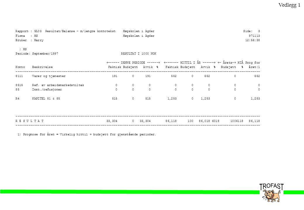 Rapport : GL08 Høgskolen i Agder Side: 1 Firma : HS Høgskolen i Agder 971113 Bruker : Harry Periodisk utlisting fra saldotabell 12:58:24 RESULTAT (BELØP I 1000 NOK) Konto Beskrivelse 9700 9701 9702 9703 9704 9705 9706 9707 9708 9709 9710 9711 >=9712 1997 ------------------------------------------------------------------------------------------------------------------------------------ 7401 Lønn og godtgjøring 0 0 0 0 0 0 0 18,635 16,384 17,518 17,553 -686 0 69,404 7411 Varer og tjenester 0 0 0 0 0 0 0 6,421 6,604 16,270 9,378 2,258 0 40,931 75A Innt./refusjoner 0 0 0 0 0 0 0 -260 -2,010 -3,107 -1,816 0 0 -7,195 ------------------------------------------------------------------------------------------------------------------------------------ R1 NTO.