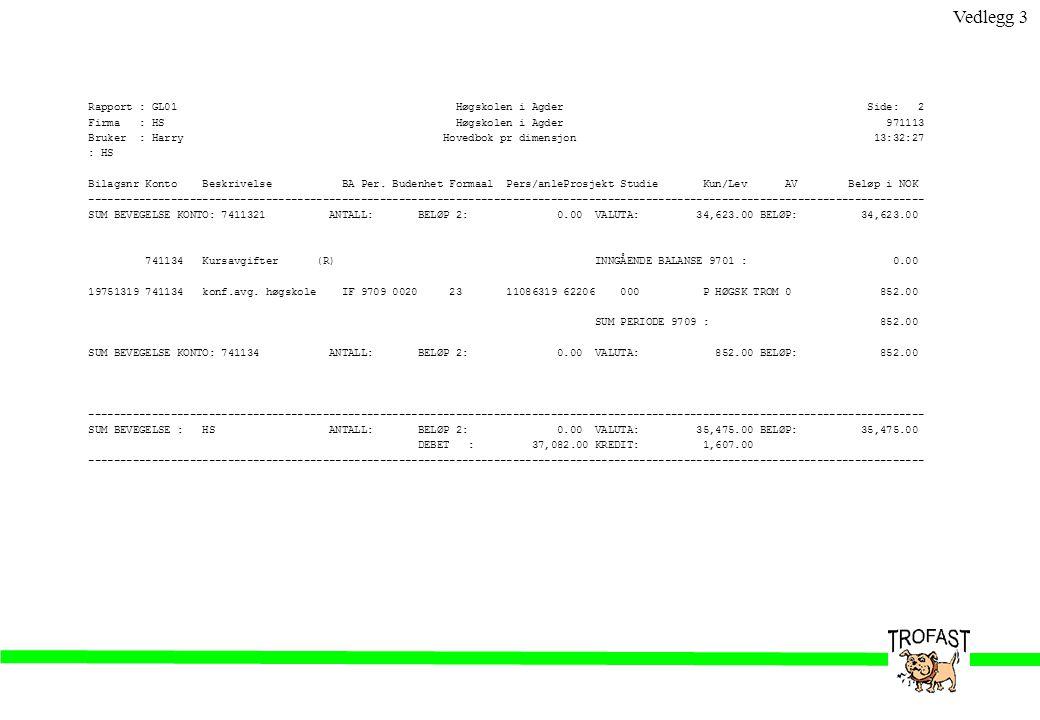 Rapport : GL01 Høgskolen i Agder Side: 2 Firma : HS Høgskolen i Agder 971113 Bruker : Harry Hovedbok pr dimensjon 13:32:27 : HS Bilagsnr Konto Beskriv
