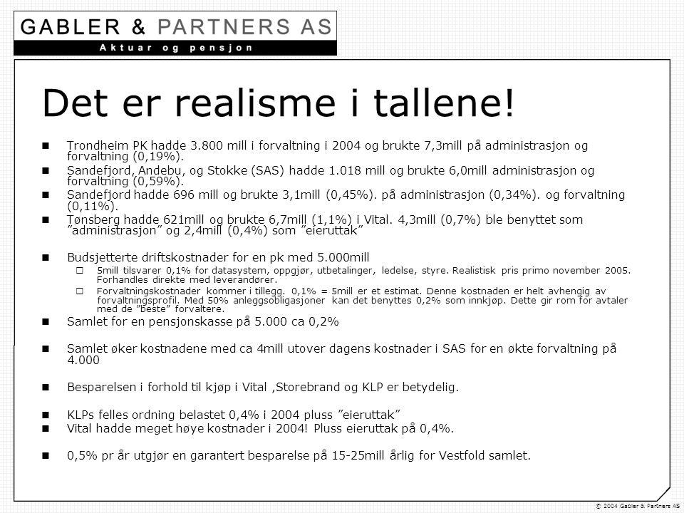 © 2004 Gabler & Partners AS Det er realisme i tallene.