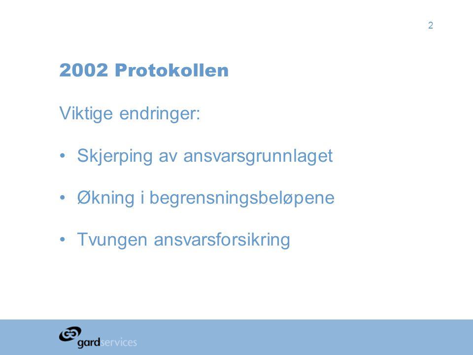 2 2002 Protokollen Viktige endringer: •Skjerping av ansvarsgrunnlaget •Økning i begrensningsbeløpene •Tvungen ansvarsforsikring