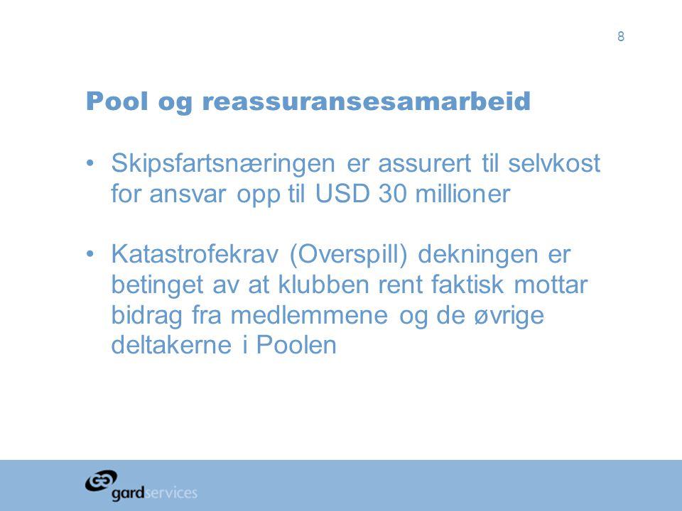 8 Pool og reassuransesamarbeid •Skipsfartsnæringen er assurert til selvkost for ansvar opp til USD 30 millioner •Katastrofekrav (Overspill) dekningen