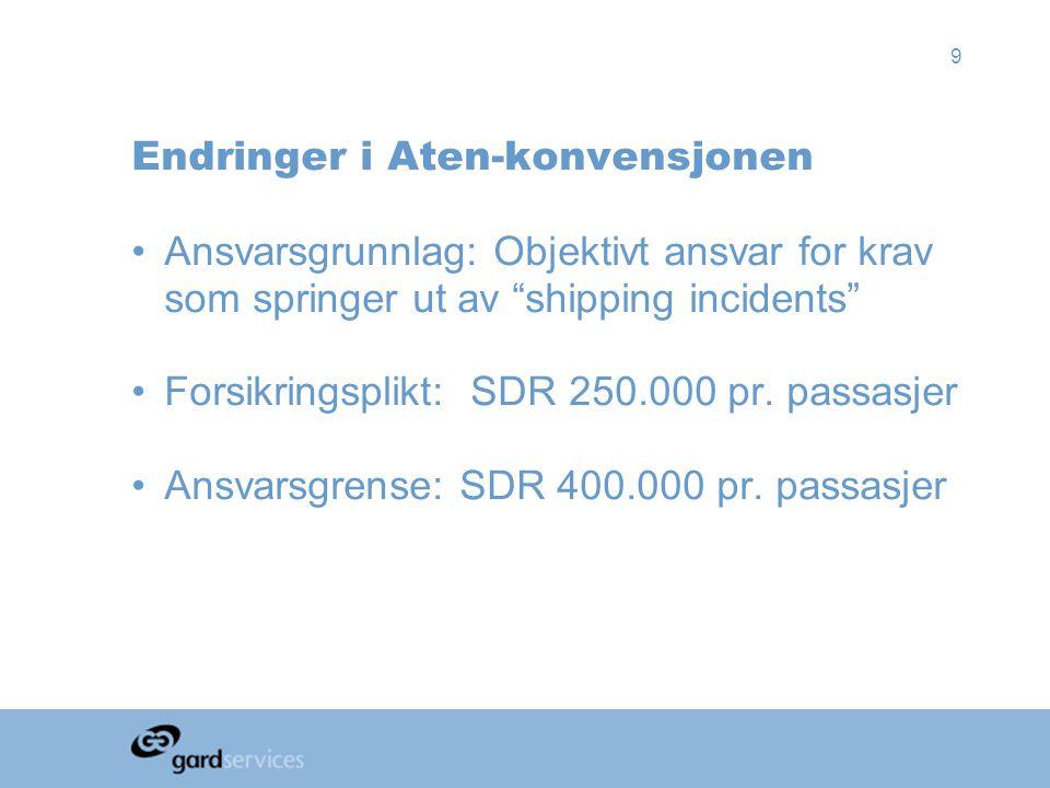 """9 Endringer i Aten-konvensjonen •Ansvarsgrunnlag: Objektivt ansvar for krav som springer ut av """"shipping incidents"""" •Forsikringsplikt: SDR 250.000 pr."""