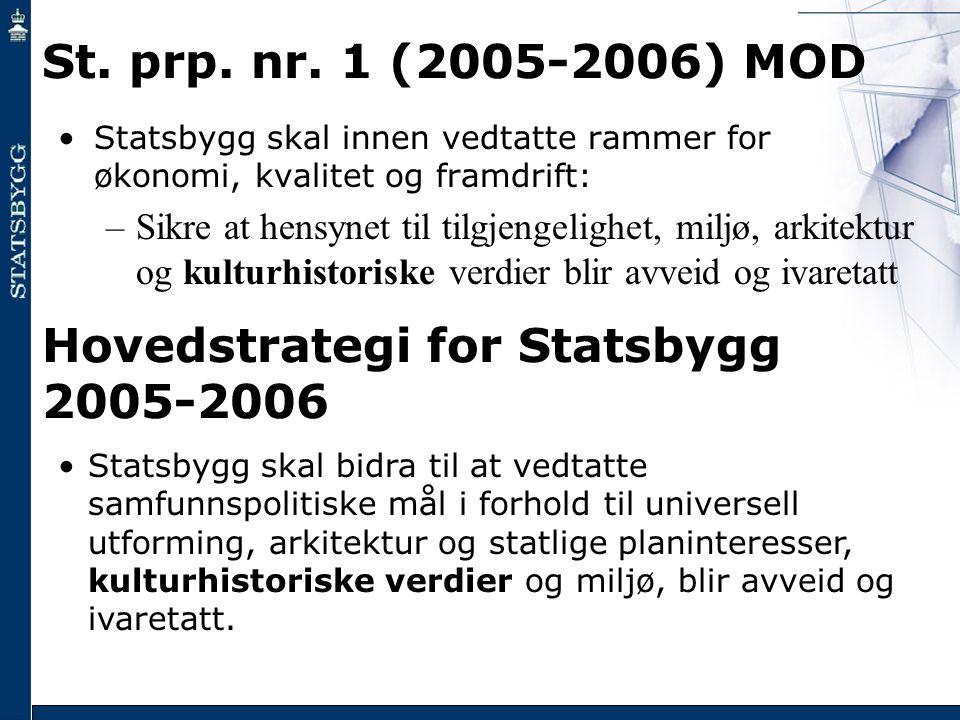 St. prp. nr. 1 (2005-2006) MOD •Statsbygg skal innen vedtatte rammer for økonomi, kvalitet og framdrift: –Sikre at hensynet til tilgjengelighet, miljø