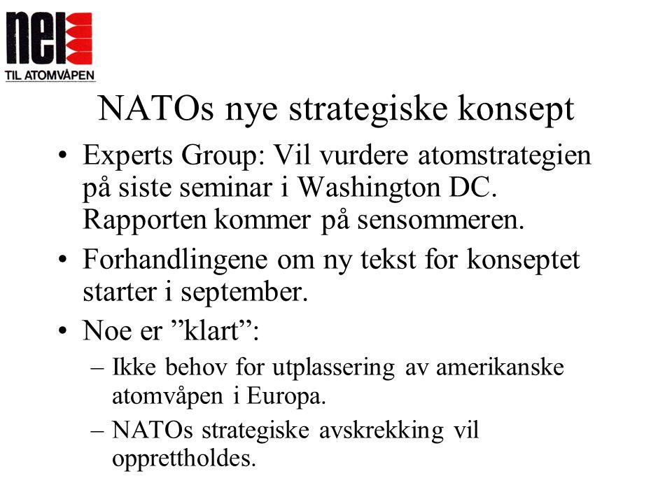 NATOs nye strategiske konsept •Experts Group: Vil vurdere atomstrategien på siste seminar i Washington DC. Rapporten kommer på sensommeren. •Forhandli
