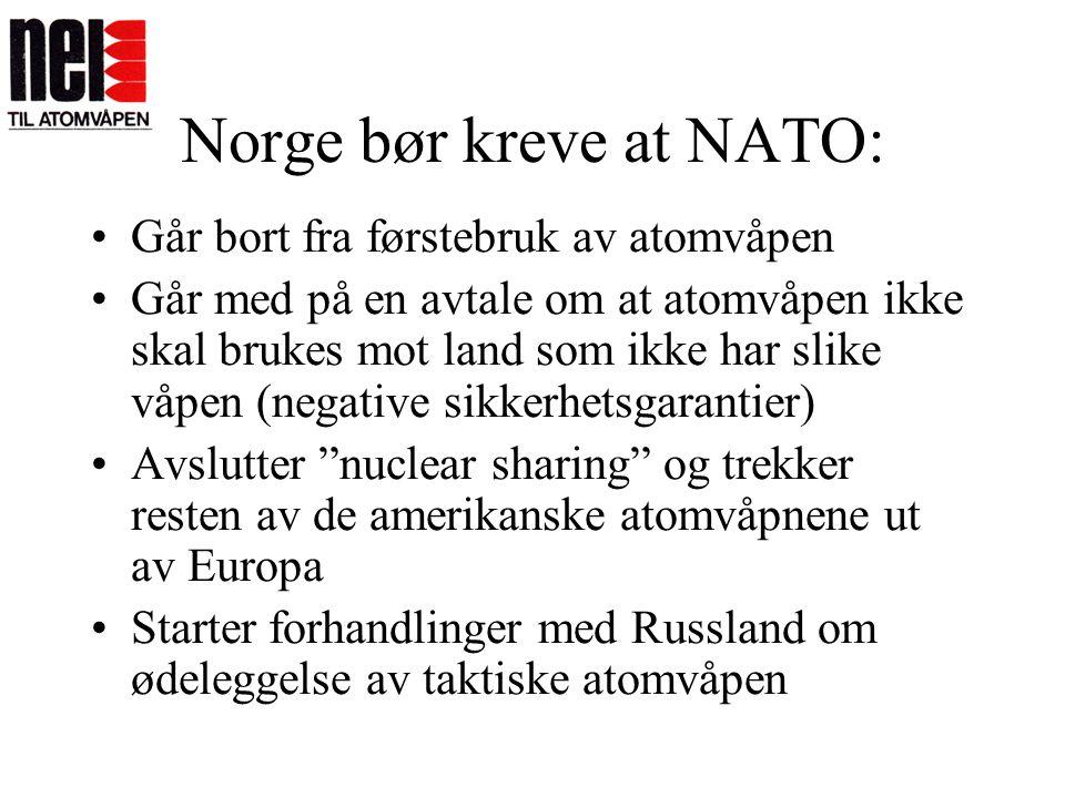 Norge bør kreve at NATO: •Går bort fra førstebruk av atomvåpen •Går med på en avtale om at atomvåpen ikke skal brukes mot land som ikke har slike våpe